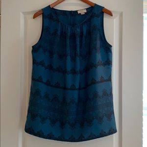 Ann Taylor Loft teal/black sleeveless blouse
